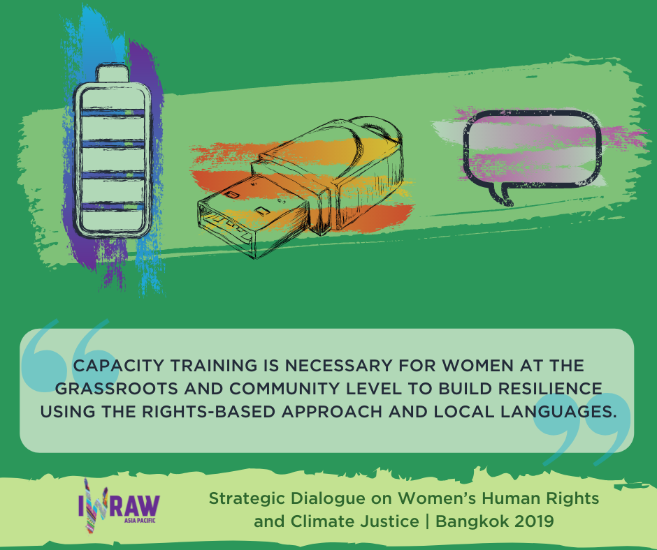 """""""Capacity training is necessary for women at the grassroots and community level to build resilience using the rights-based approach and local languages."""""""