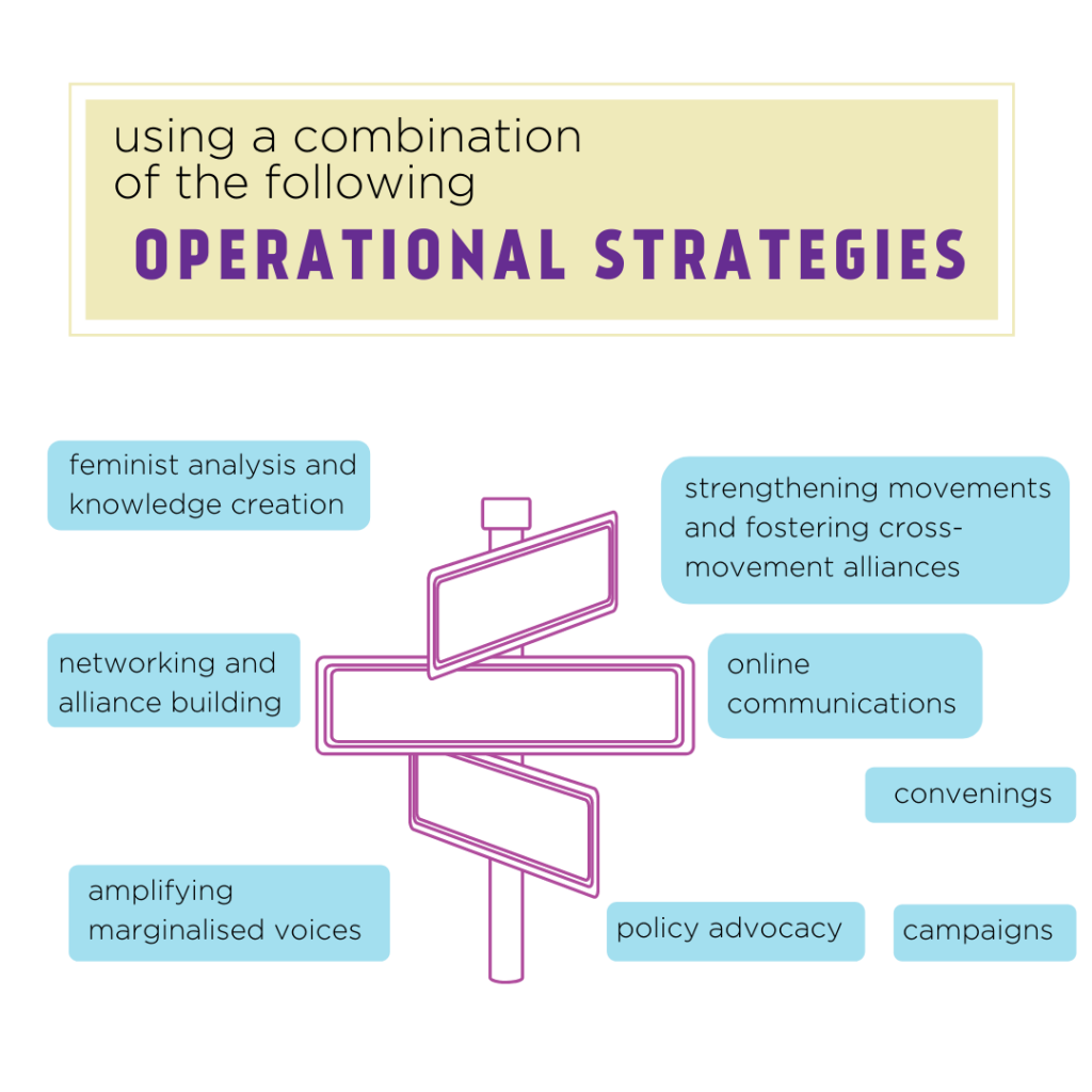 Operational Strategies used by IWRAW Asia Pacific: feminist analysis and knowledge creation; networking and alliance building; amplifying marginalised voices; strengthening movements and fostering cross-movement alliances; online communications; convenings; policy advocacy; campaigns
